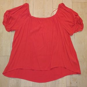Venus coral XL blouse with tied sleeves